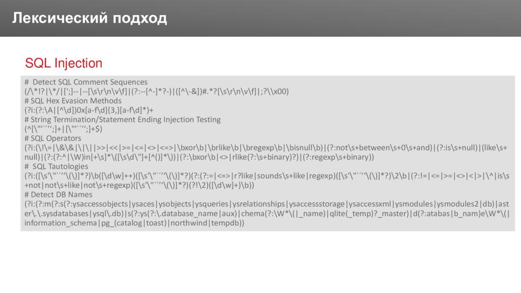 Заголовок Лексический подход SQL Injection # De...
