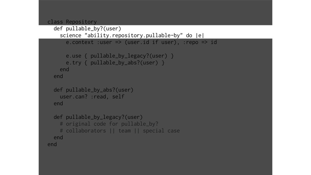 class Repository def pullable_by?(user) science...