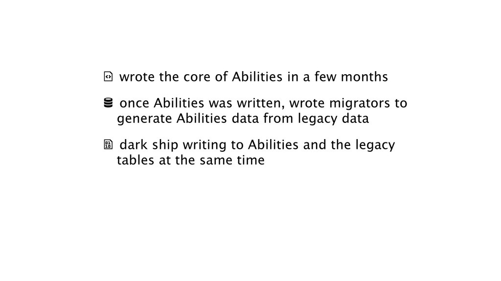 & wrote the core of Abilities in a few months ...