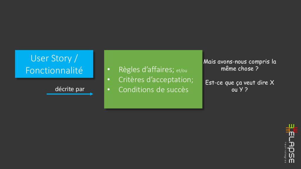 User Story / Fonctionnalité • Règles d'affaires...
