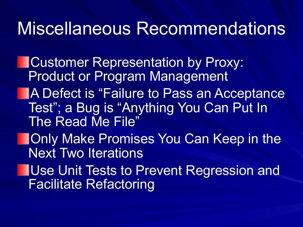 Miscellaneous Recommendations Customer Represen...