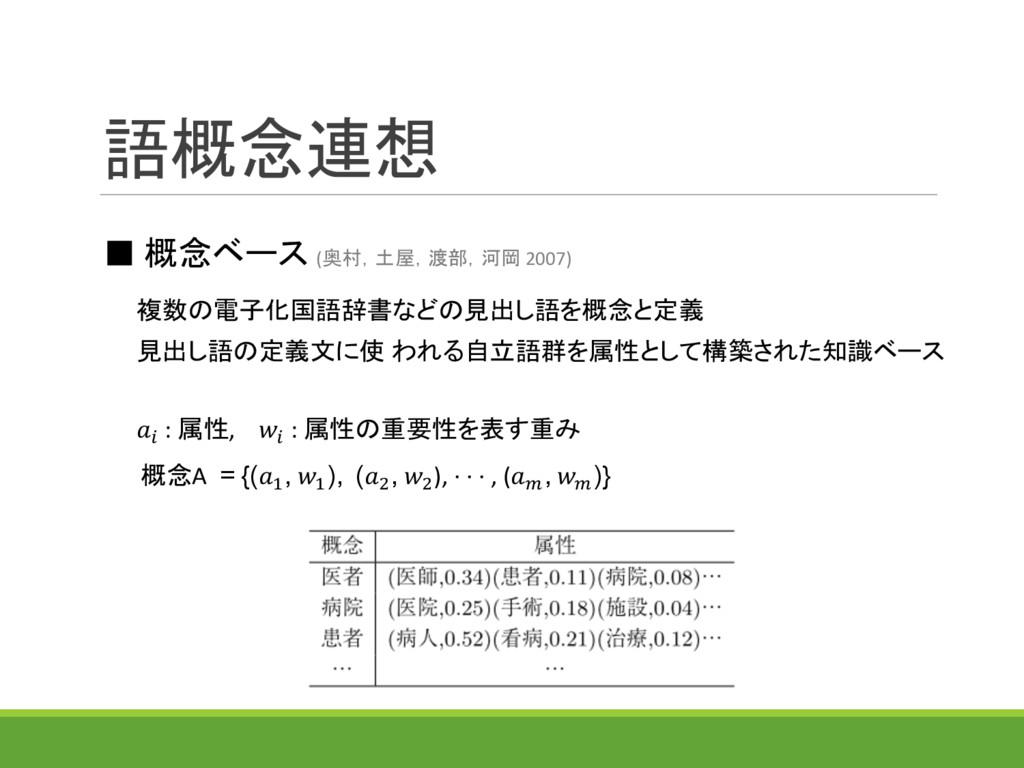 語概念連想 ■ 概念ベース (奥村,土屋,渡部,河岡 2007) 見出し語の定義文に使 われる...
