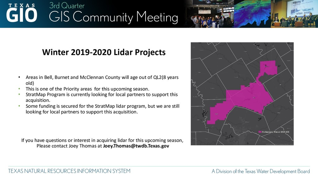 Winter 2019-2020 Lidar Projects • Areas in Bell...