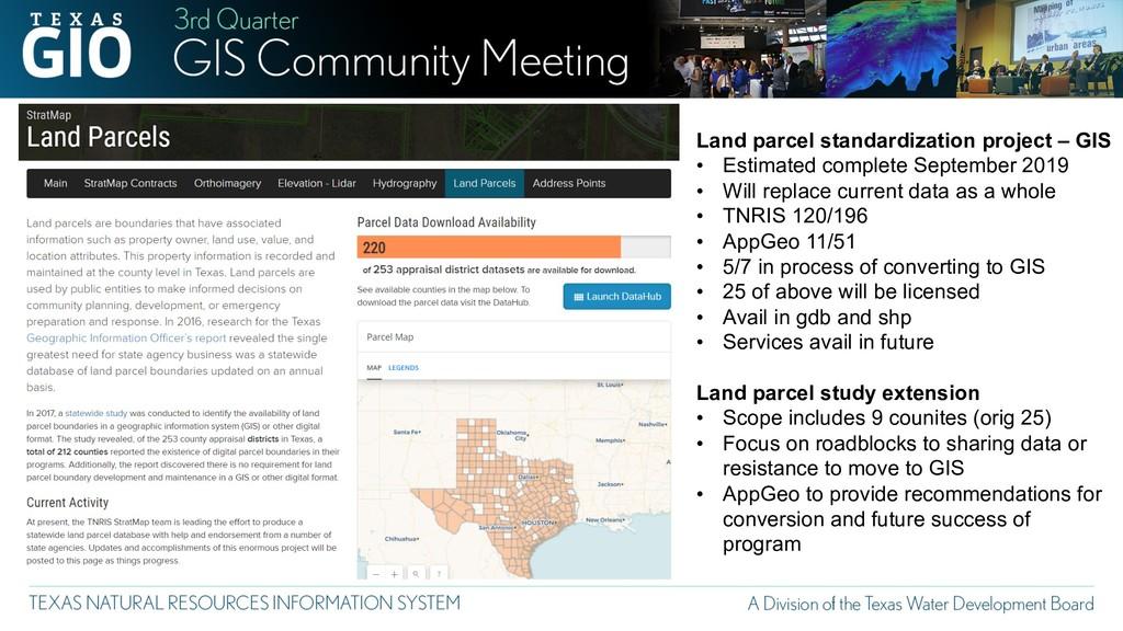 Land parcel standardization project – GIS • Est...