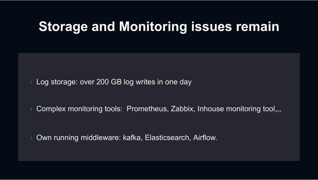 Storage and Monitoring issues remain › Log stor...