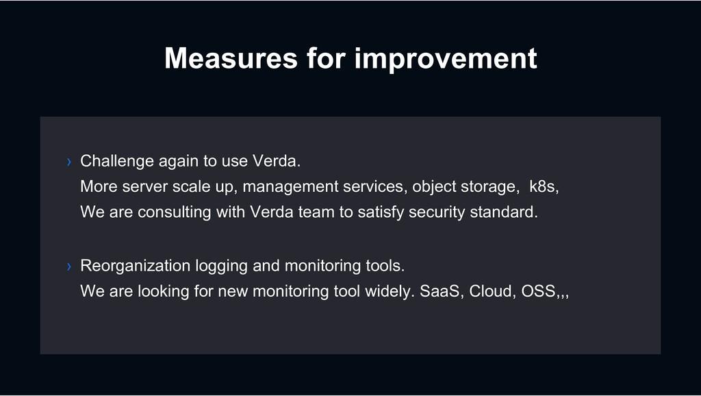 Measures for improvement › Reorganization loggi...