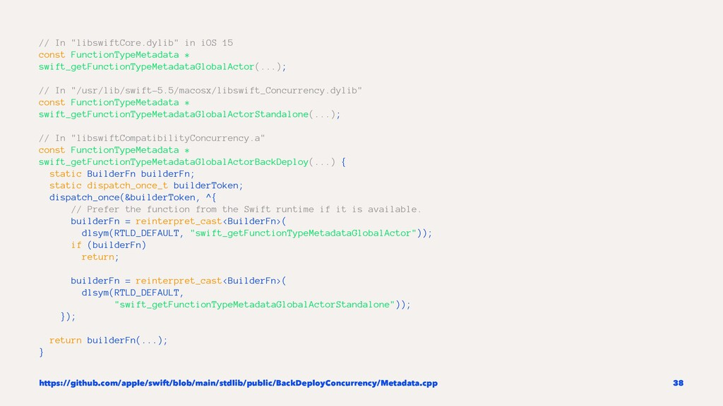 """// In """"libswiftCore.dylib"""" in iOS 15 const Func..."""
