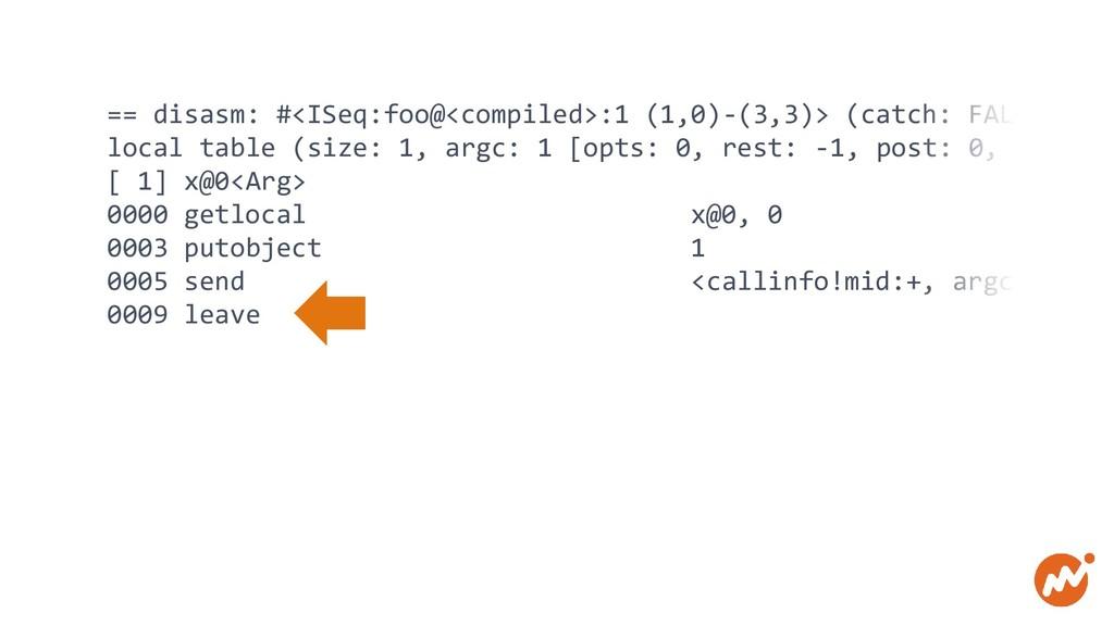 == disasm: #<ISeq:foo@<compiled>:1 (1,0)-(3,3)>...