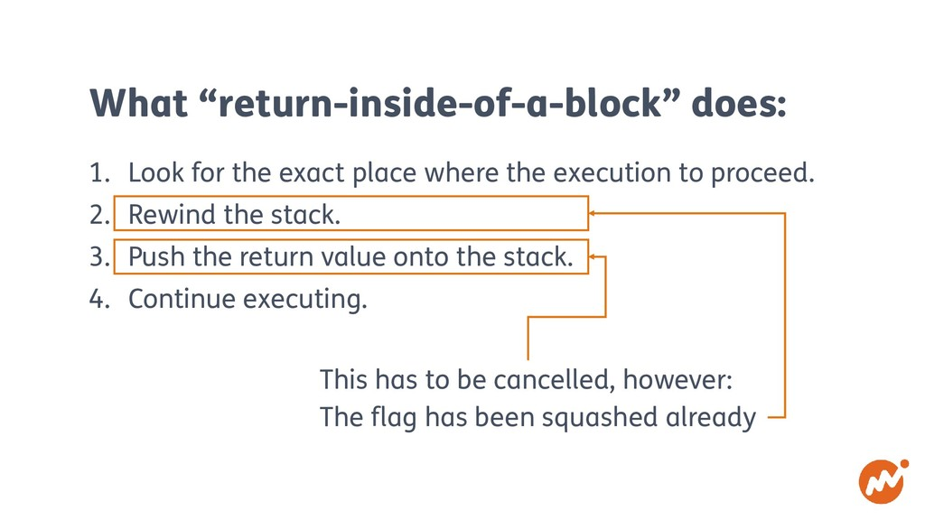 """What """"return-inside-of-a-block"""" does: 1. Look f..."""