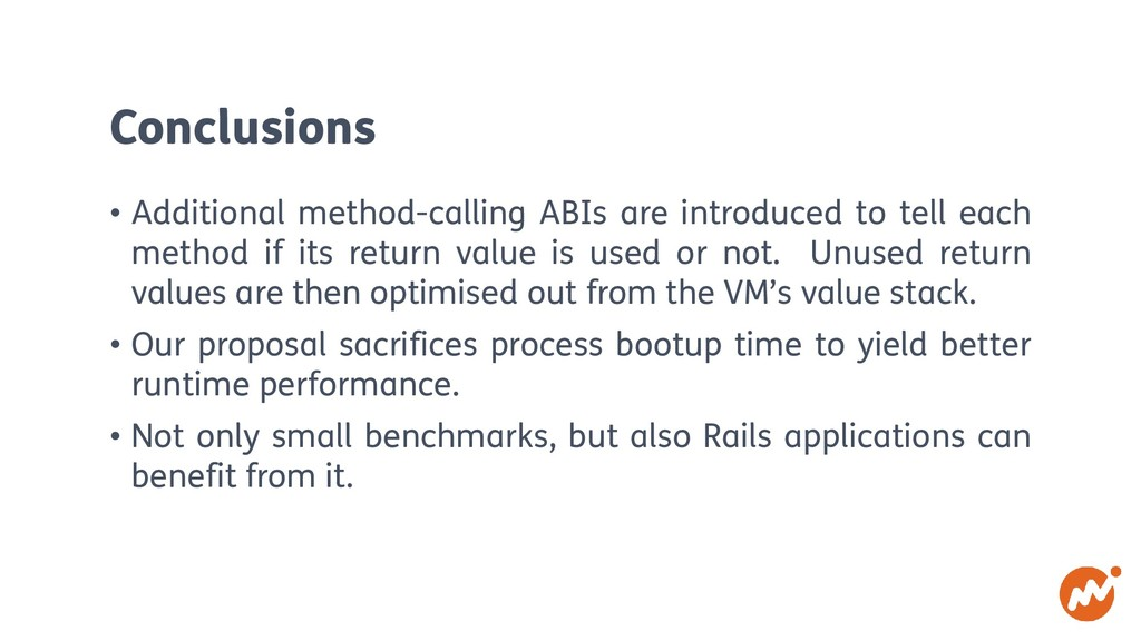 Conclusions • Additional method-calling ABIs ar...