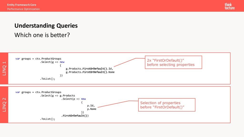 LINQ 2 LINQ 1 Entity Framework Core Performance...
