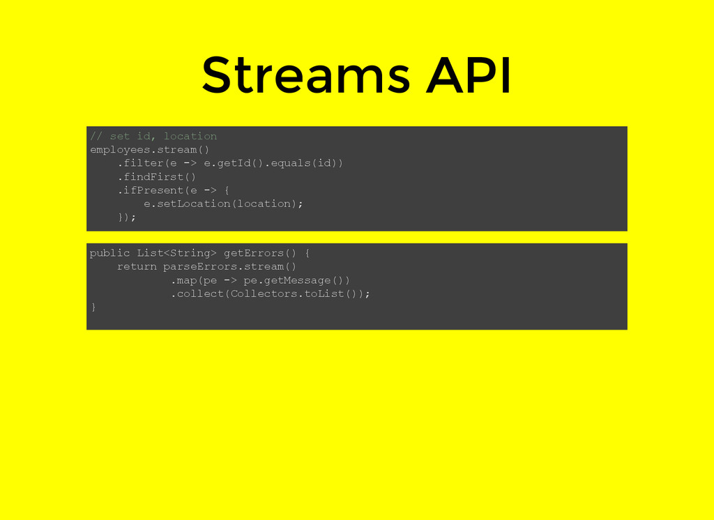 Streams API // set id, location employees.strea...