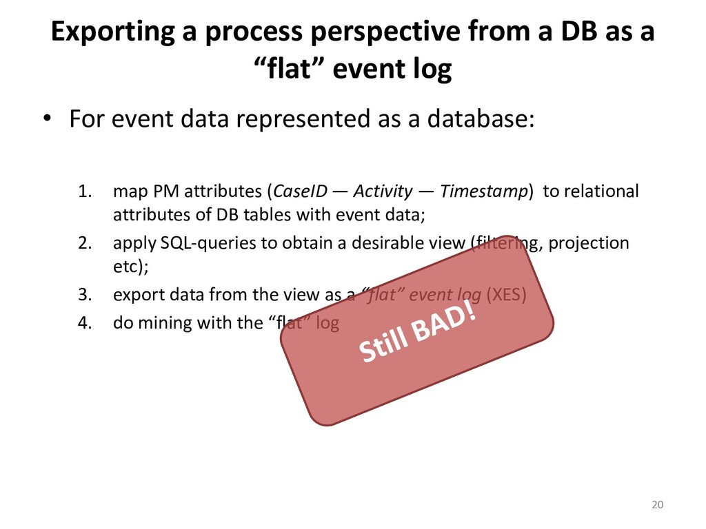 Exporting a process perspective from a DB as a ...