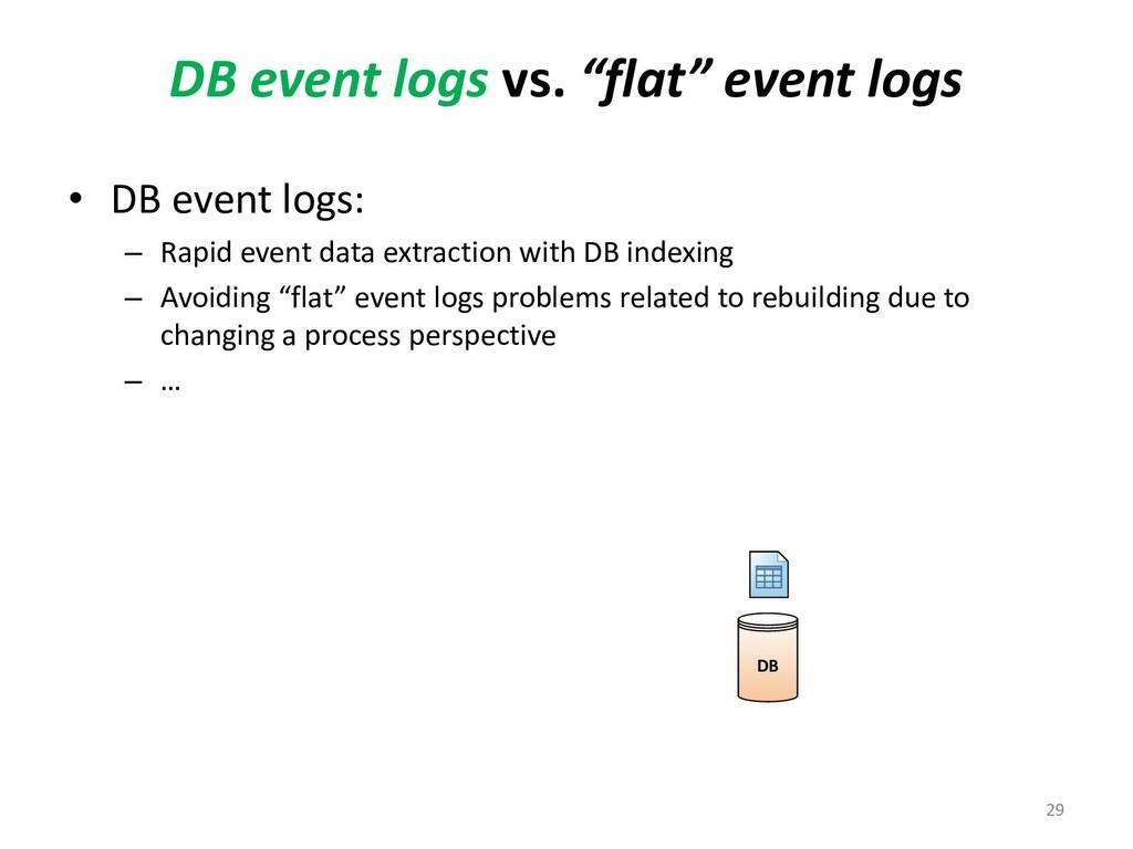 """DB event logs vs. """"flat"""" event logs • DB event ..."""