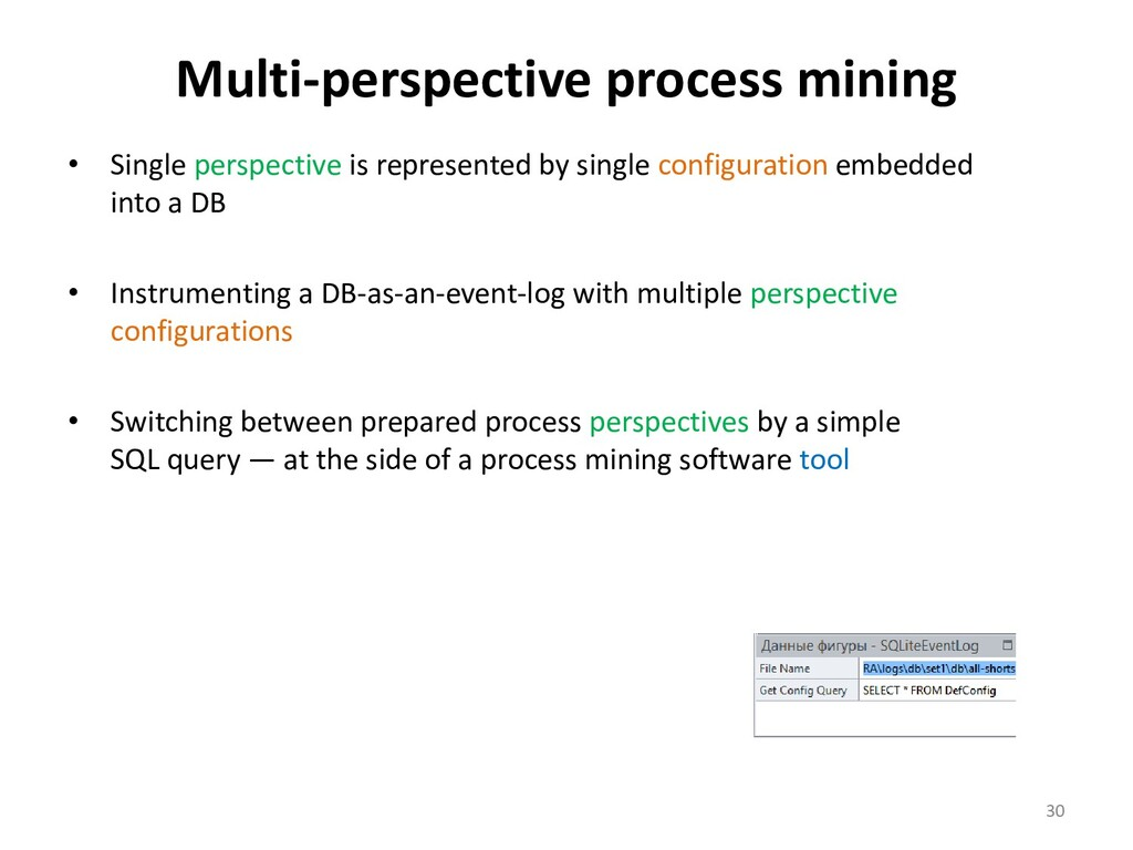 Multi-perspective process mining • Single persp...
