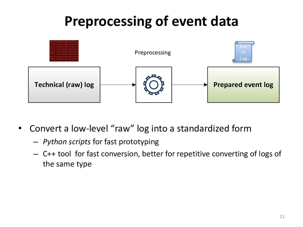 Preprocessing of event data • Convert a low-lev...