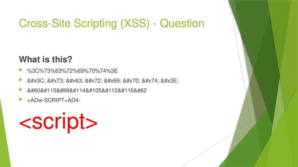 Cross-Site Scripting (XSS) - Question What is t...
