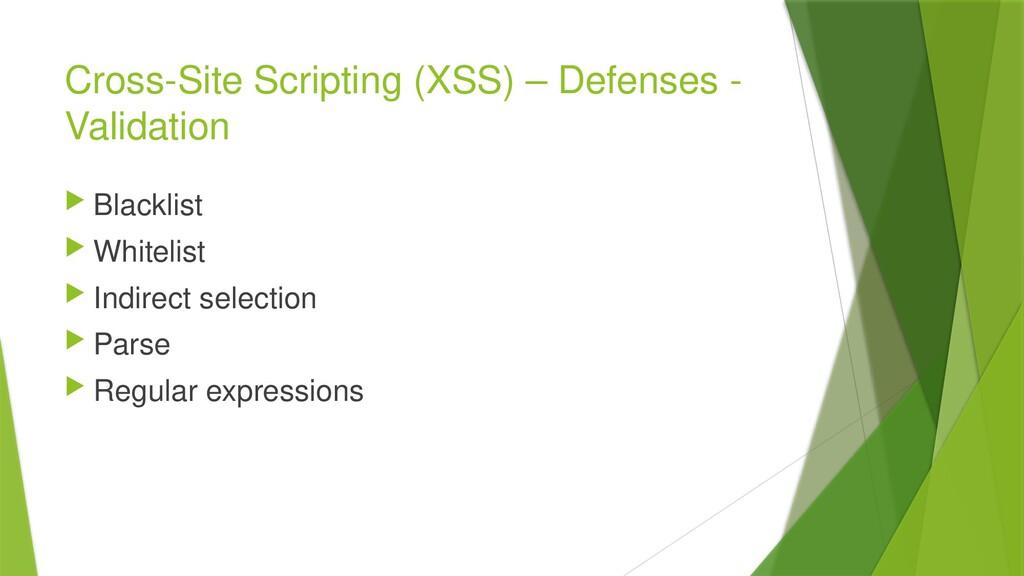 Cross-Site Scripting (XSS) – Defenses - Validat...