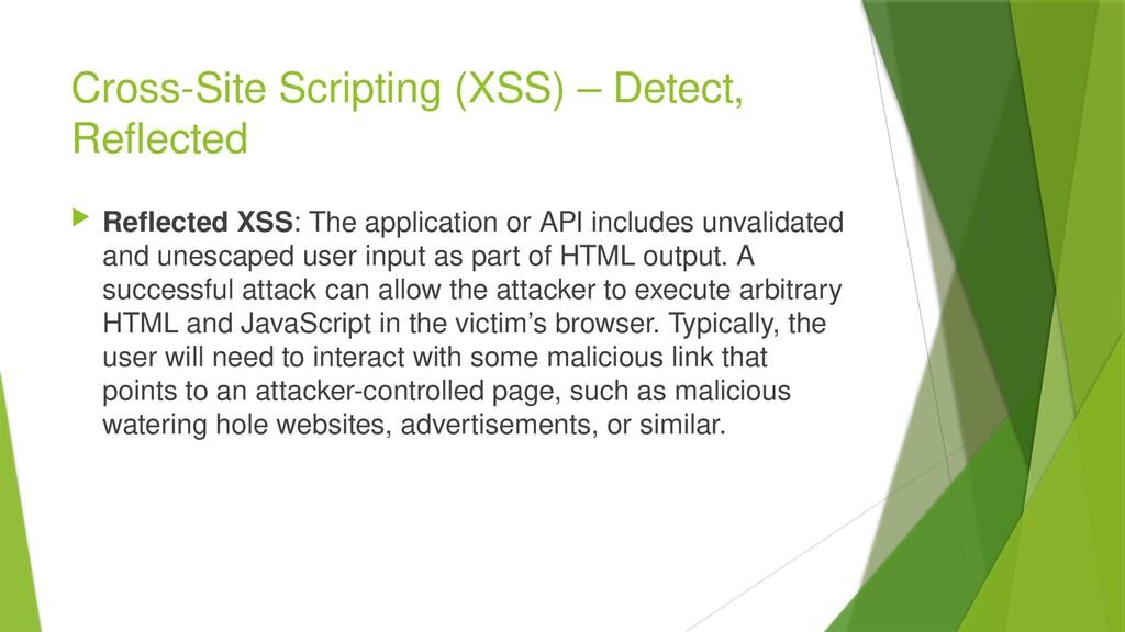 Cross-Site Scripting (XSS) – Detect, Reflected ...