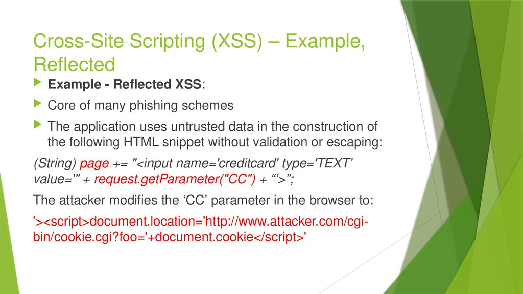 Cross-Site Scripting (XSS) – Example, Reflected...