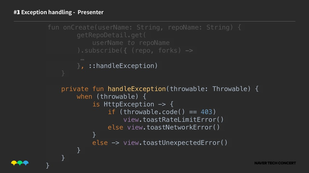 #1 #3 Exception handling - Presenter fun onCrea...