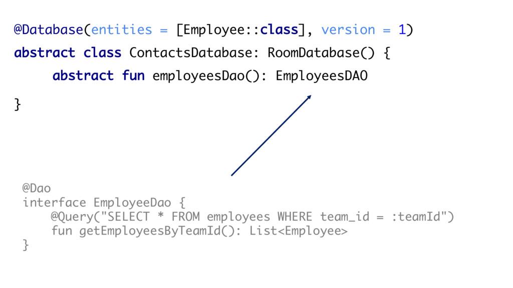 @Database(entities = [Employee::class], version...