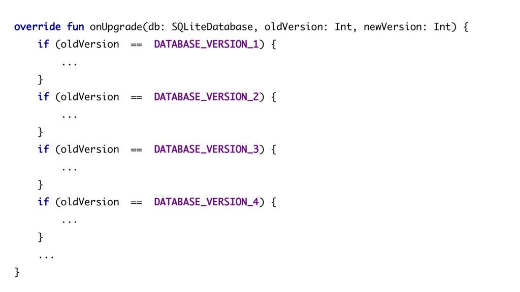 override fun onUpgrade(db: SQLiteDatabase, oldV...