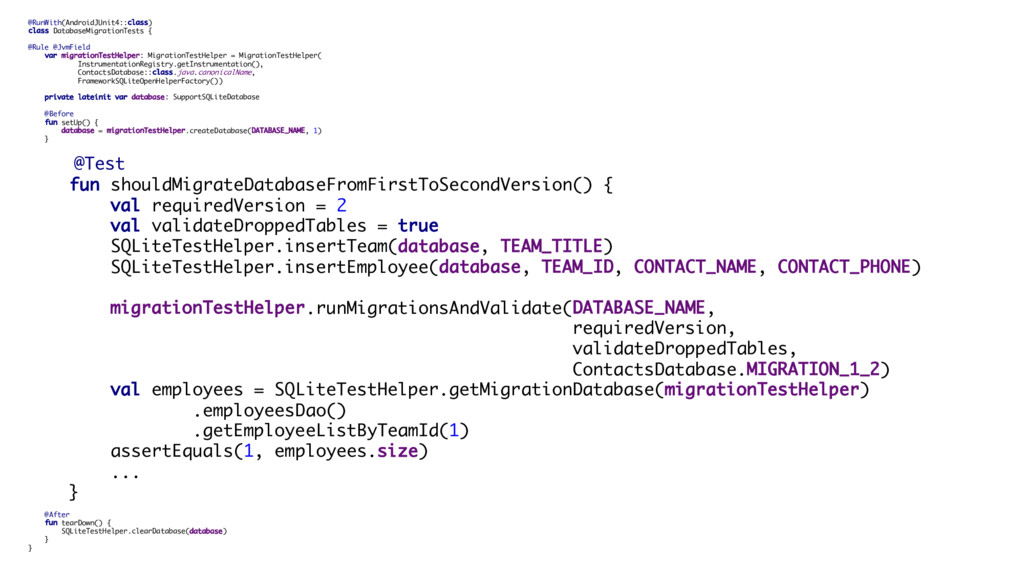 @RunWith(AndroidJUnit4::class) class DatabaseMi...