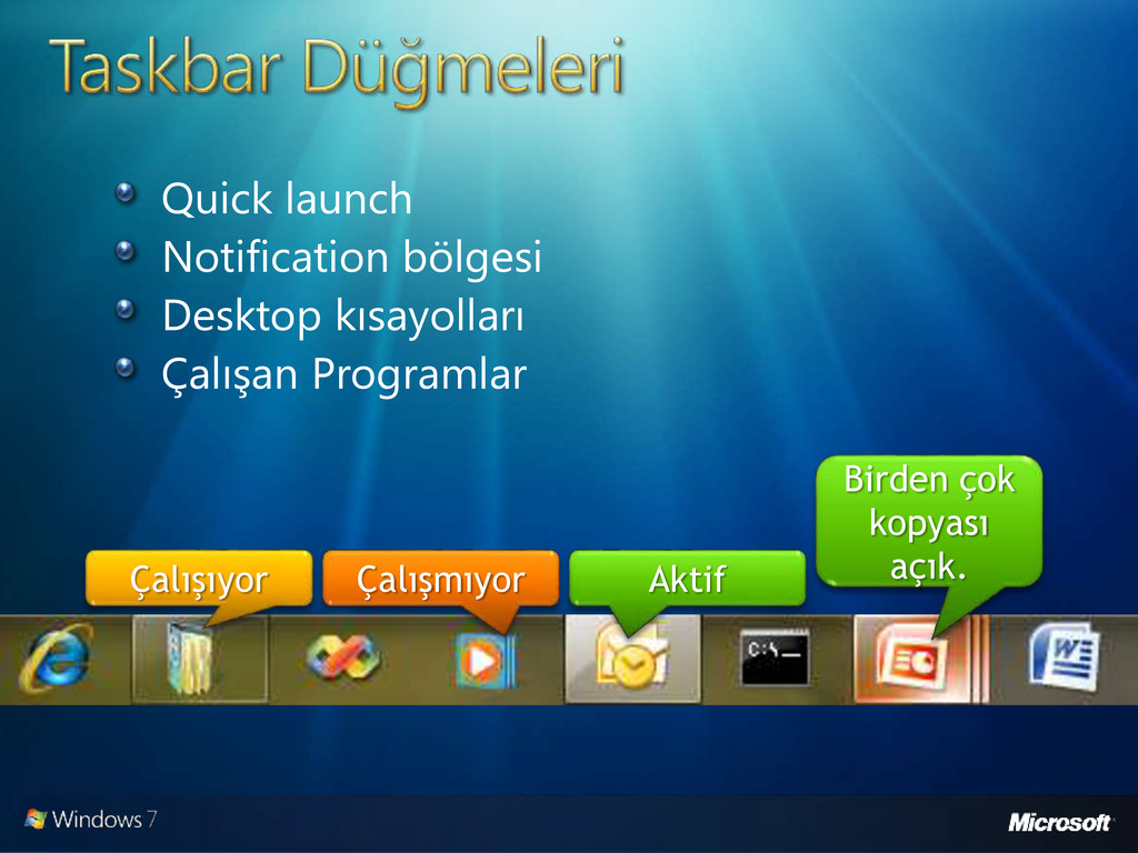 Quick launch Notification bölgesi Desktop kısay...