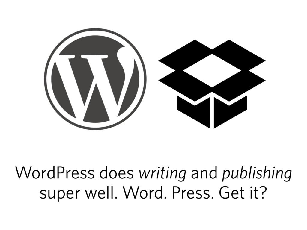 WordPress does writing and publishing super wel...