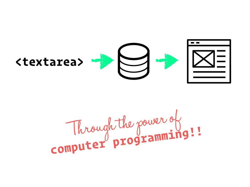 <textarea> Through the power of computer progra...