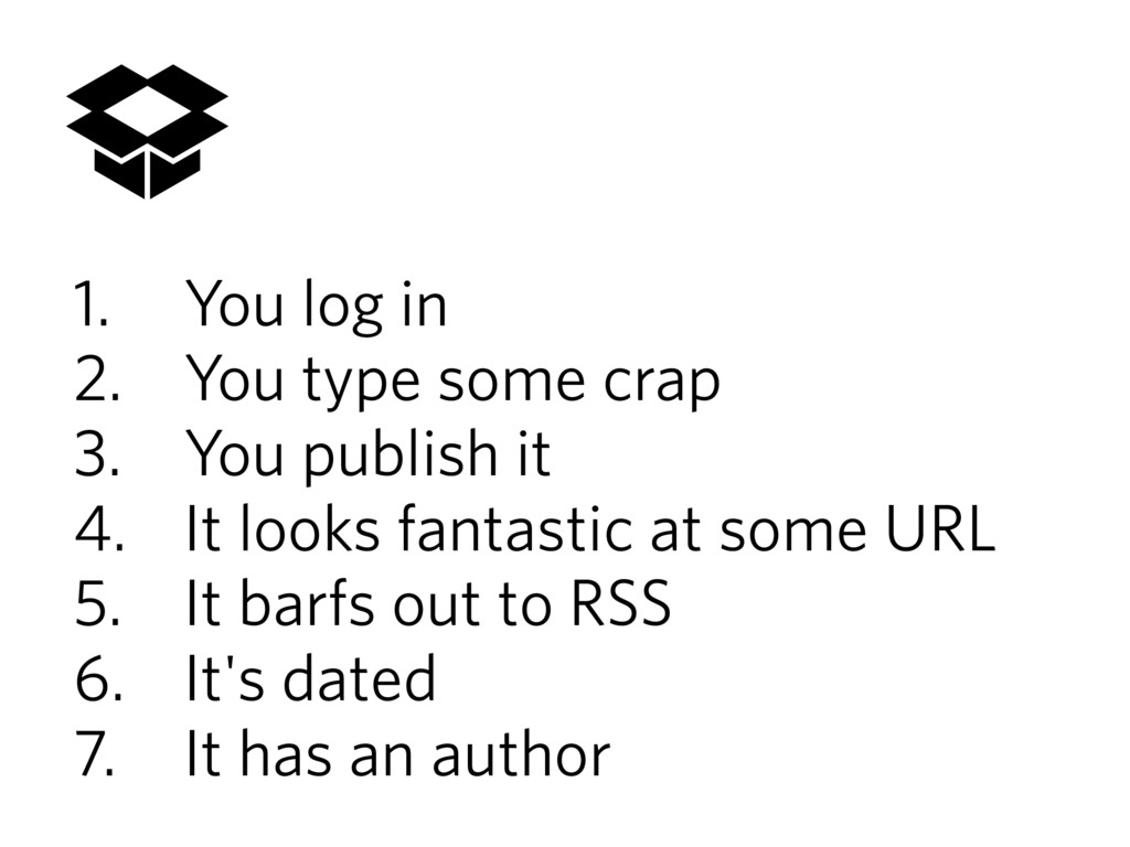 1. You log in 2. You type some crap 3. You publ...