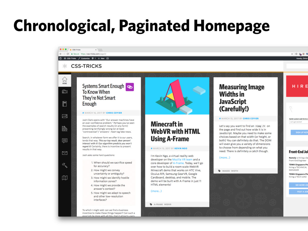 Chronological, Paginated Homepage