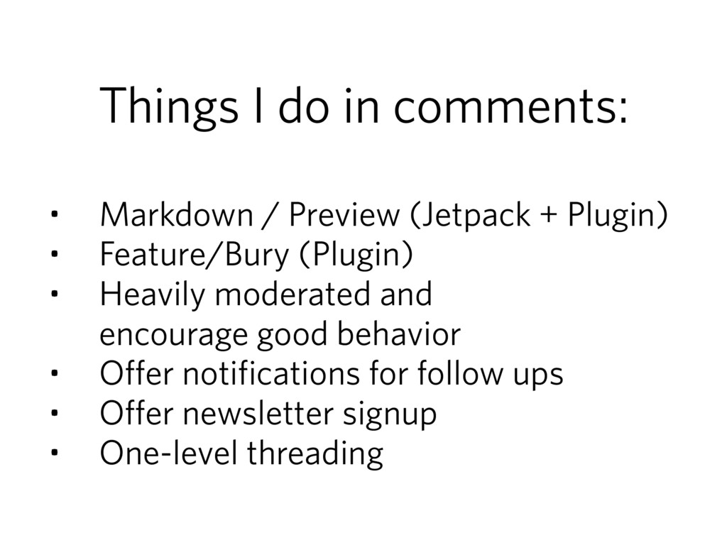 Things I do in comments: • Markdown / Preview (...