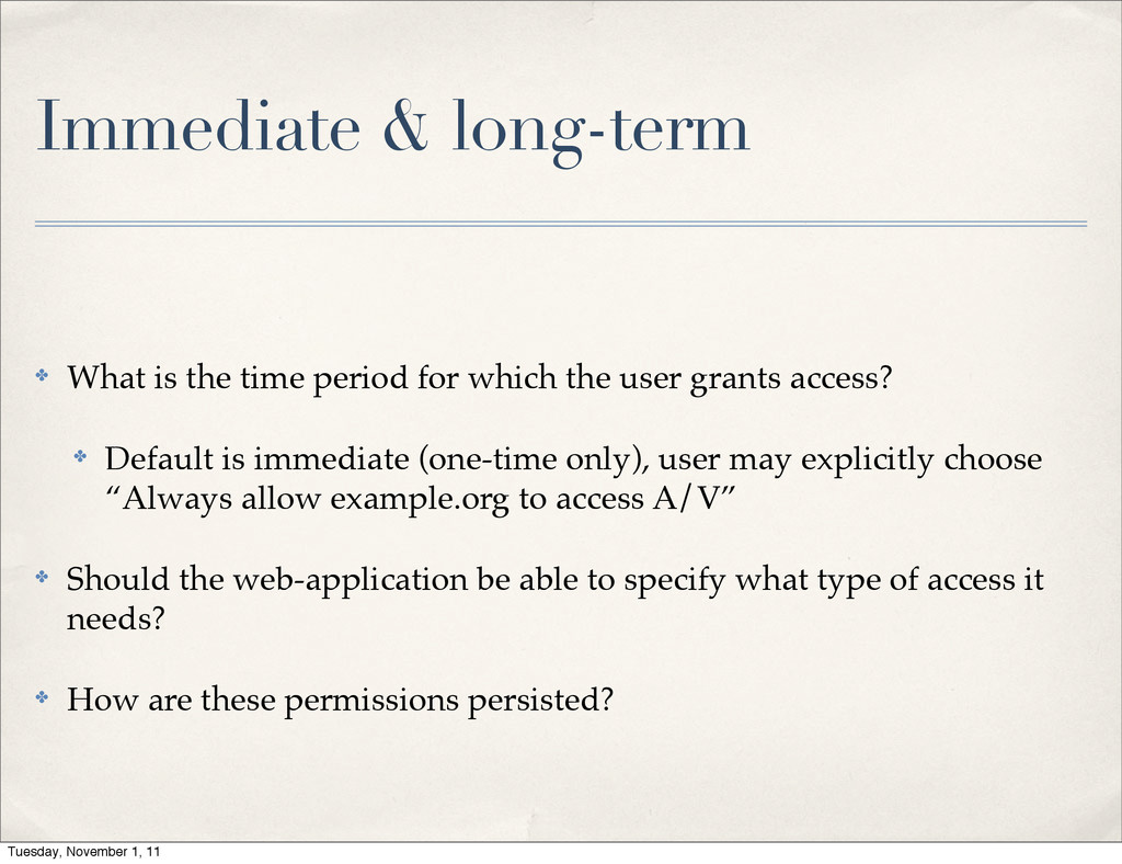 Immediate & long-term ✤ What is the time period...
