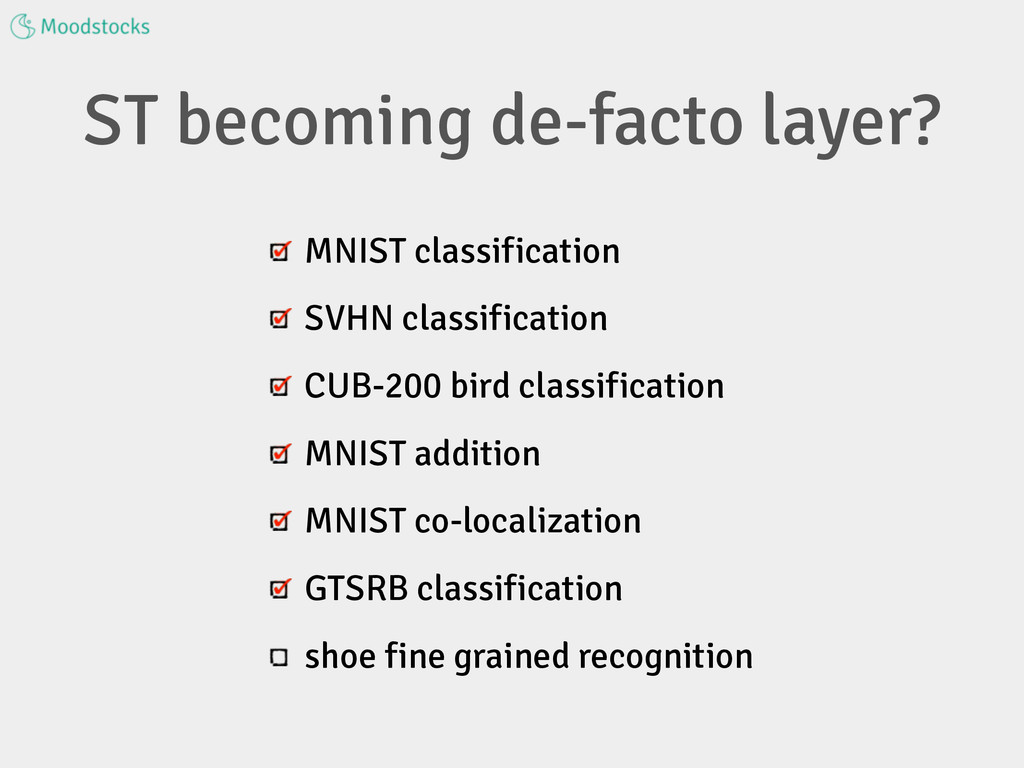 ST becoming de-facto layer? MNIST classificatio...