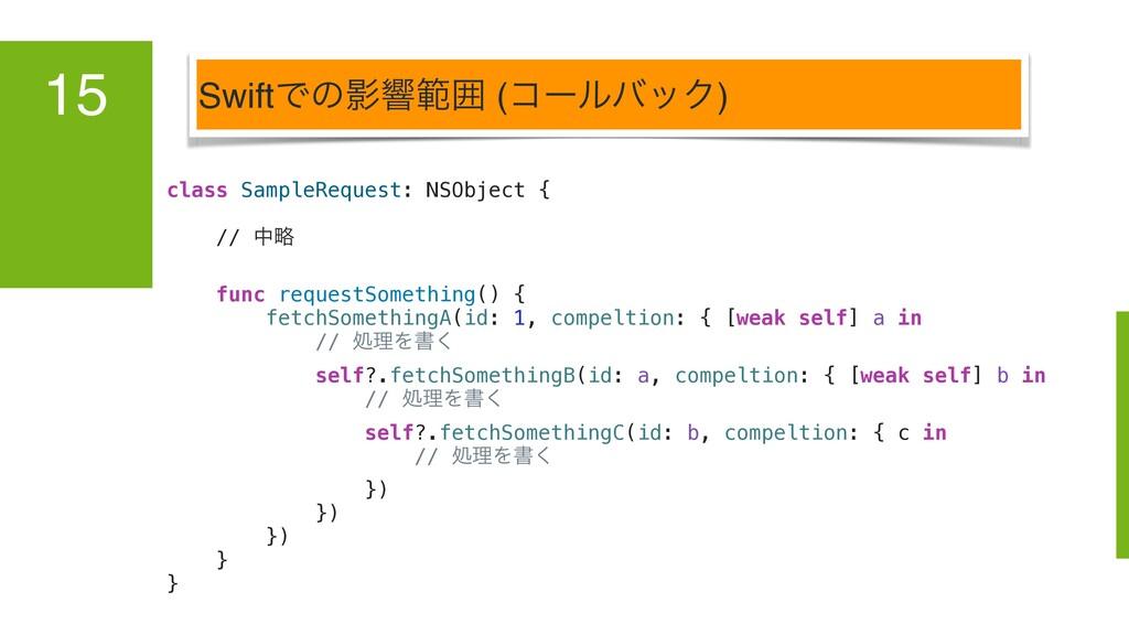 SwiftͰͷӨڹൣғ (ίʔϧόοΫ) 15 class SampleRequest: NS...