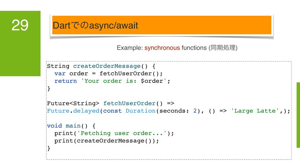 DartͰͷasync/await 29 Example: synchronous funct...