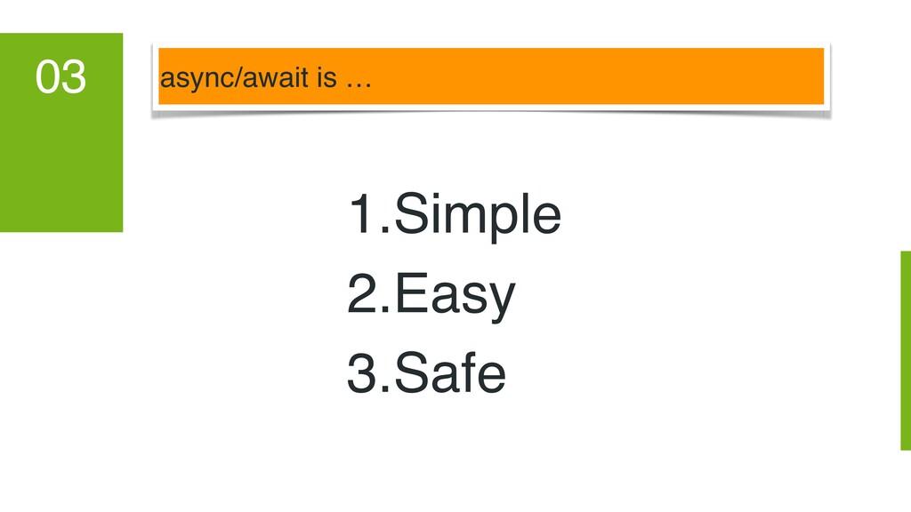 async/await is … 03 1.Simple 2.Easy 3.Safe