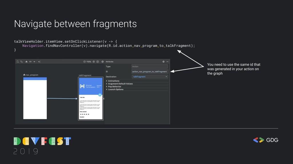 Navigate between fragments talkViewHolder.itemV...
