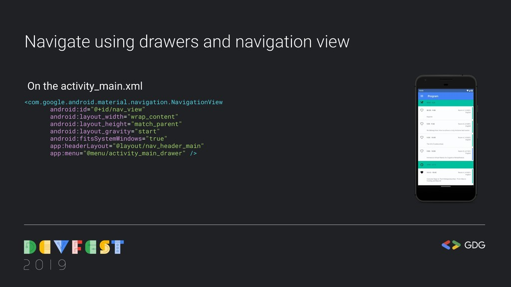 Navigate using drawers and navigation view <com...