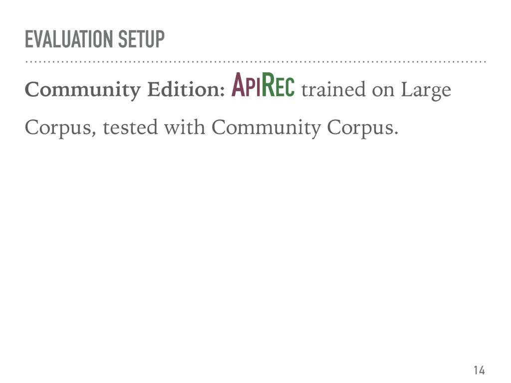 EVALUATION SETUP Community Edition: APIREC trai...