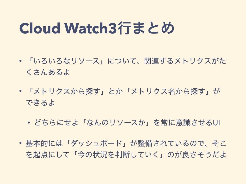 Cloud Watch3ߦ·ͱΊ • ʮ͍Ζ͍ΖͳϦιʔεʯʹ͍ͭͯɺؔ࿈͢ΔϝτϦΫε͕ͨ ...