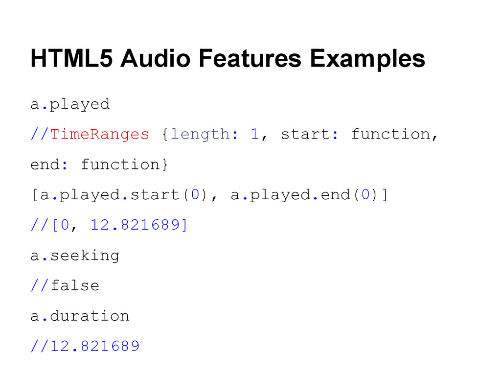 HTML5 Audio Features Examples a.played //TimeRa...
