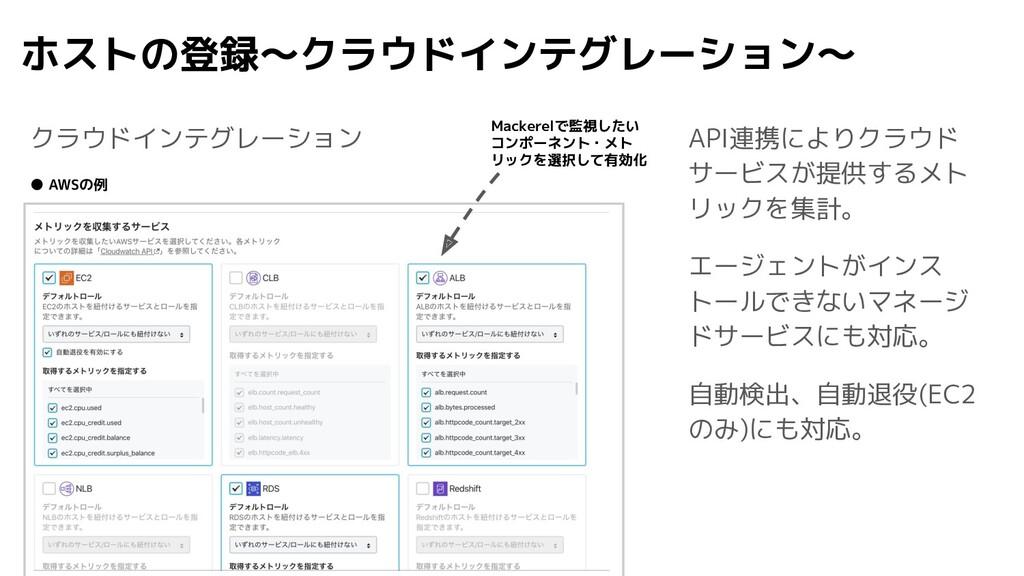 ホストの登録〜クラウドインテグレーション〜 クラウドインテグレーション API連携によりクラウ...