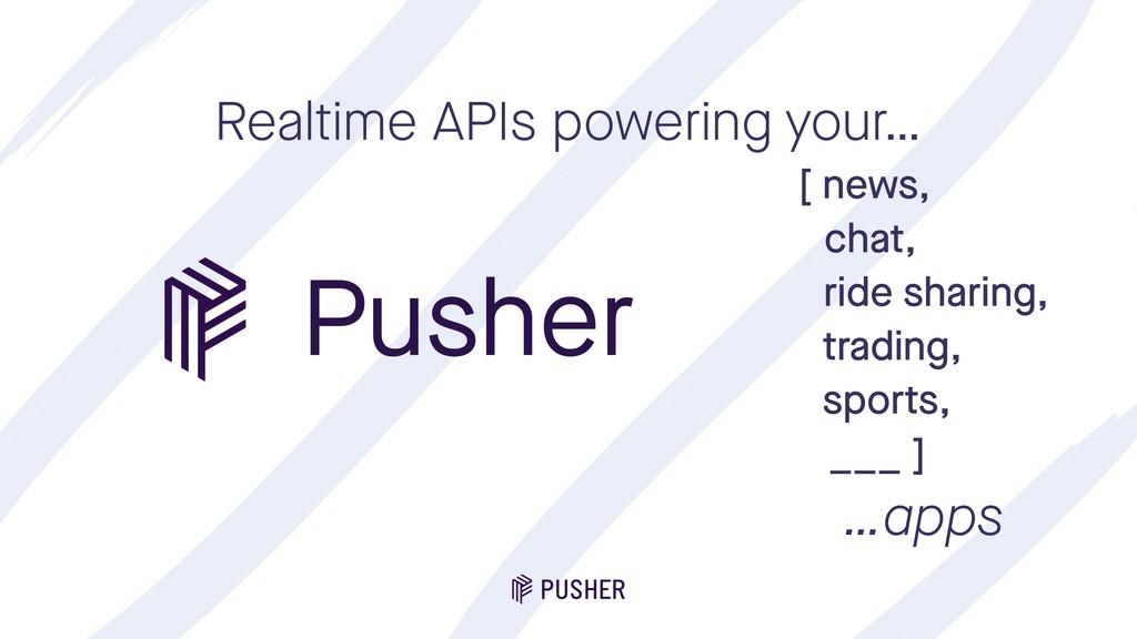 Pusher Realtime APIs powering your… [ news, cha...