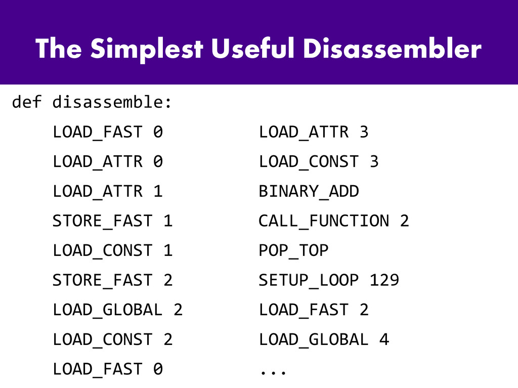 The Simplest Useful Disassembler def disassembl...