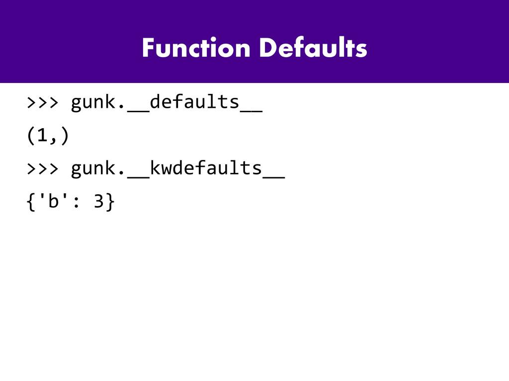 Function Defaults >>> gunk.__defaults__ (1,) >>...