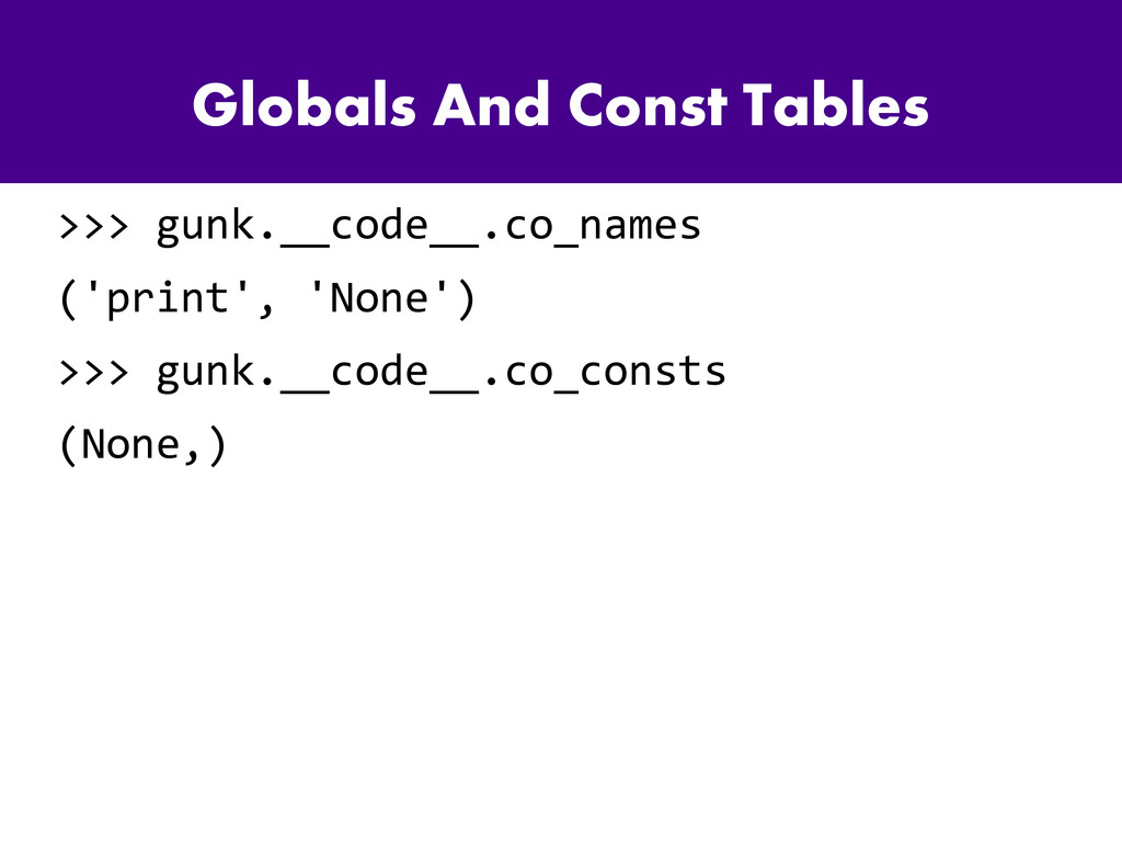 Globals And Const Tables >>> gunk.__code__.co_n...