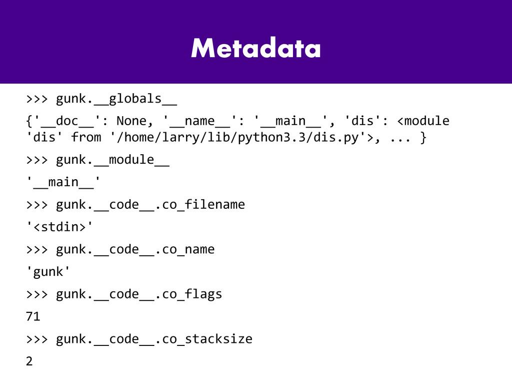Metadata >>> gunk.__globals__ {'__doc__': None,...